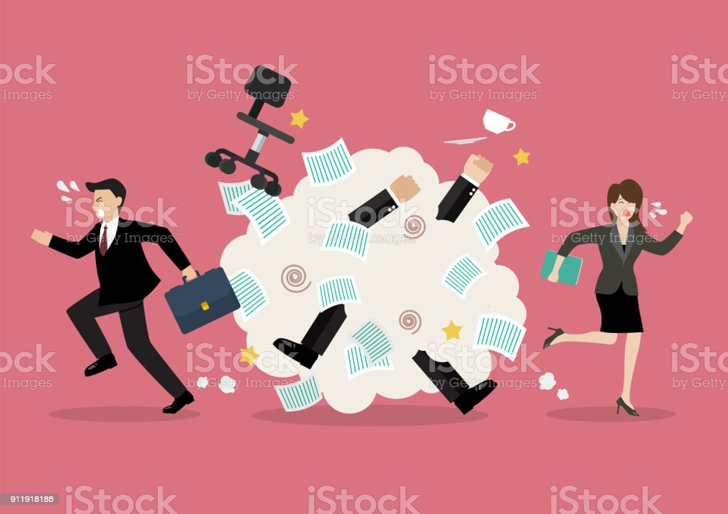 Office workers scuffling at work vector art illustration
