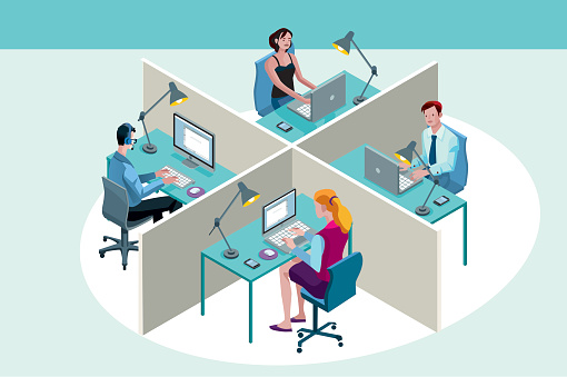 Office Workers Sitting at Their Desks