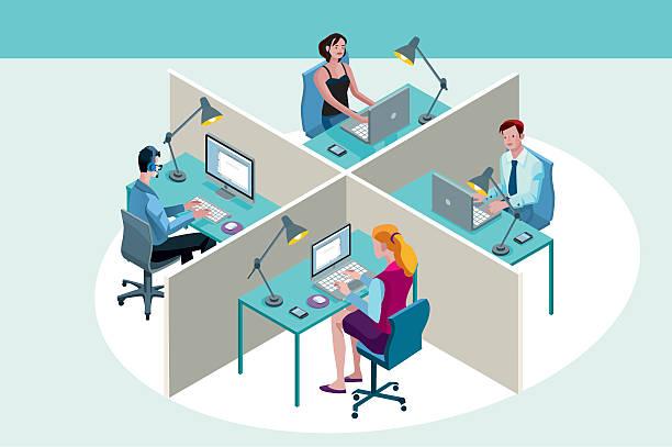 stockillustraties, clipart, cartoons en iconen met office workers sitting at their desks - business woman phone