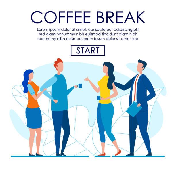 ilustrações de stock, clip art, desenhos animados e ícones de office workers talking shop at short coffee break - pausa para café