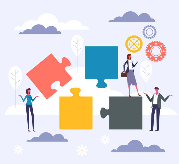 Office workers teamwork puzzle concept. Vector flat graphic design cartoon illustration vector art illustration