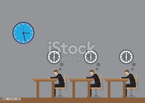Office workers thinking about 6pm for knock off at end of work day. Cartoon vector illustration on office life of business professionals.