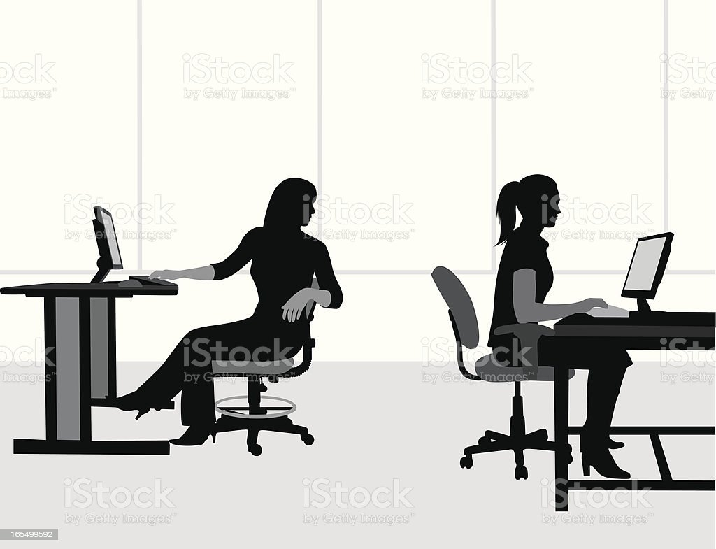 Office Workers Vector Silhouette royalty-free stock vector art