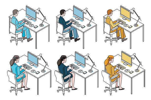 stockillustraties, clipart, cartoons en iconen met office workers with computer - business woman phone