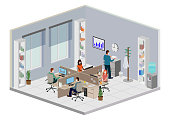 istock Office workers with facemask Isometric Perspective 1272860653
