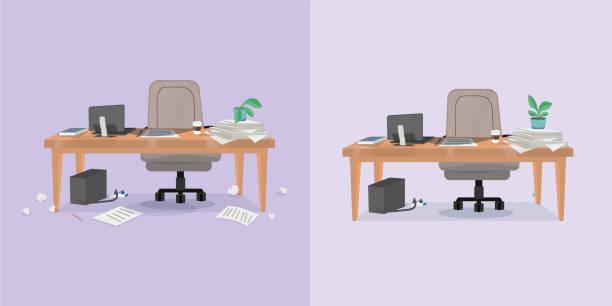 ilustrações, clipart, desenhos animados e ícones de local de trabalho de escritório e limpeza - carteira