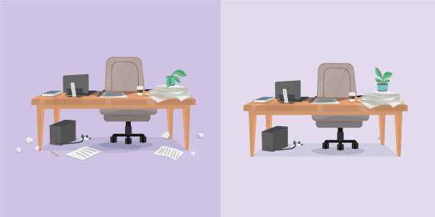 illustrazioni stock, clip art, cartoni animati e icone di tendenza di office working place and cleaning - disordinato