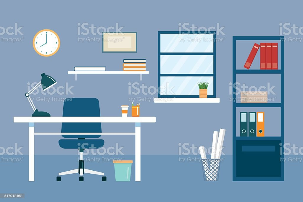 office workplace and equipment flat design vector art illustration