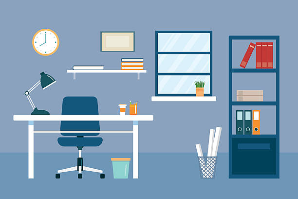 office workplace and equipment flat design office workplace and equipment flat design office chair stock illustrations