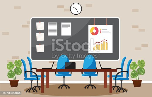 Office Workplace Conference Meeting Room Business Concept Flat