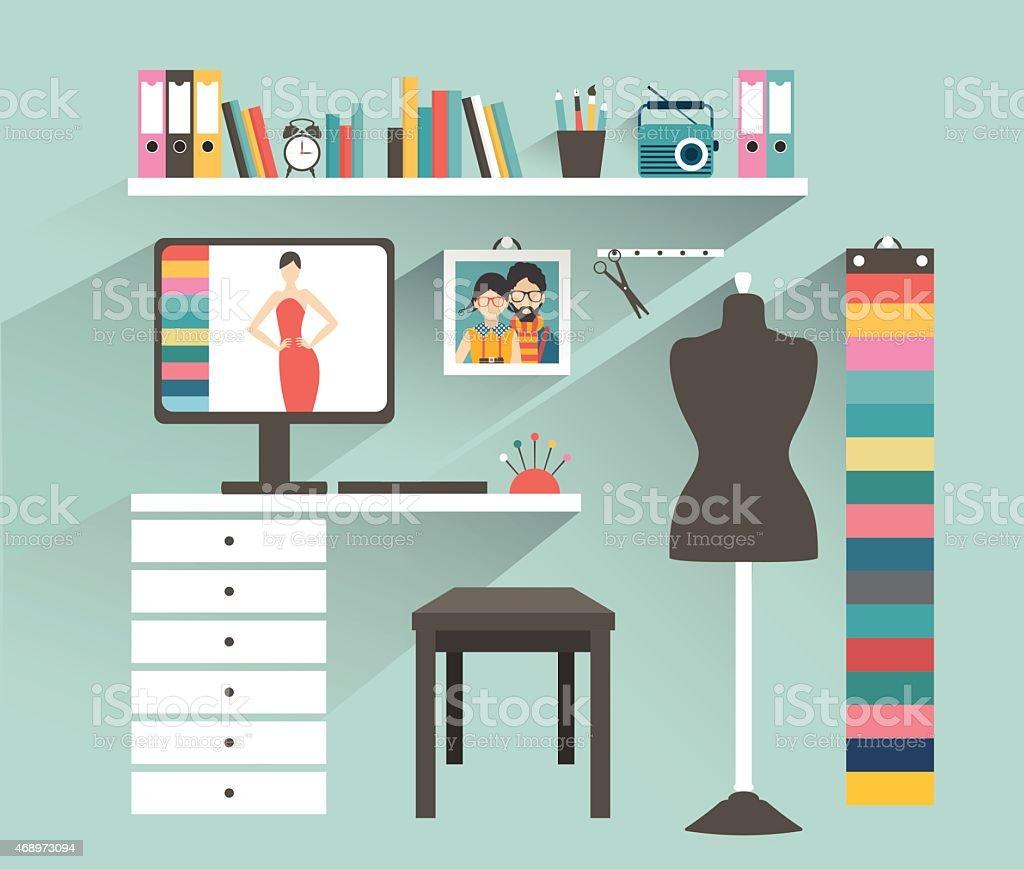 Büro Arbeitsplatz Modedesigner Büro Flache Design Vektorillustration ...