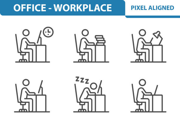 Office - Workplace Icons Professional, pixel perfect icons, EPS 10 format. man sleeping stock illustrations
