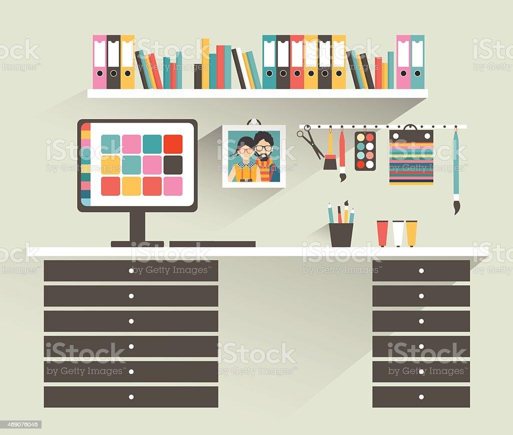 Büro Arbeitsplatz Künstler Designerbüro Flache Design ...