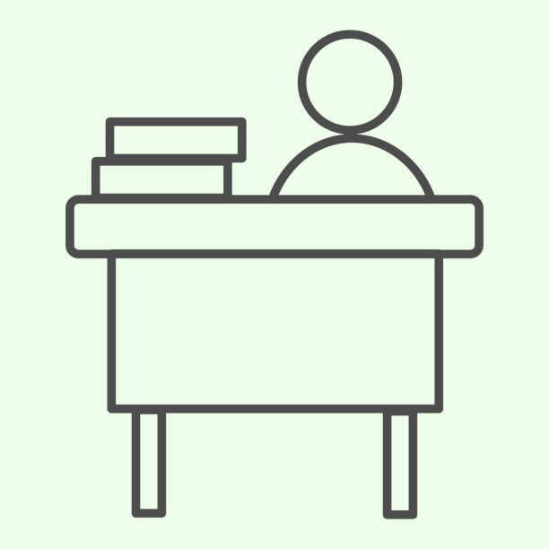 Office workplace thin line icon. Businessman working at desk with books outline style pictogram on white background. Work and job signs for mobile concept and web design. Vector graphics. Office workplace thin line icon. Businessman working at desk with books outline style pictogram on white background. Work and job signs for mobile concept and web design. Vector graphics one man only stock illustrations
