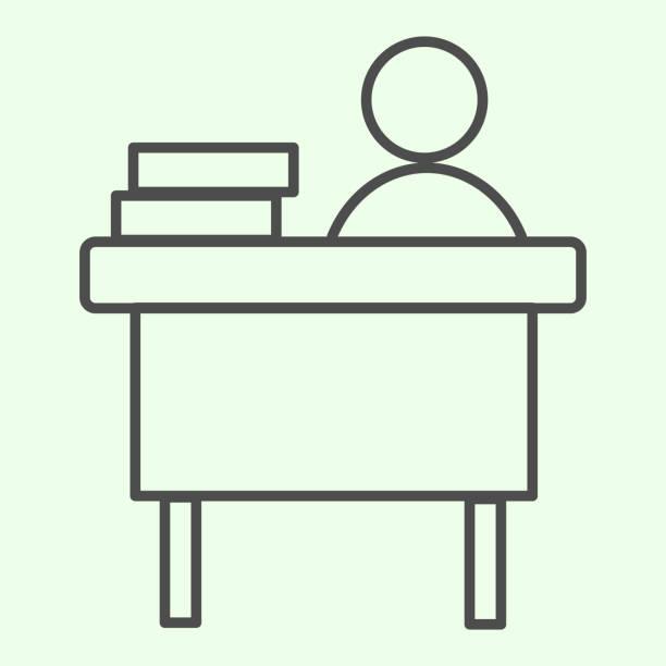 ilustrações de stock, clip art, desenhos animados e ícones de office workplace thin line icon. businessman working at desk with books outline style pictogram on white background. work and job signs for mobile concept and web design. vector graphics. - só adultos