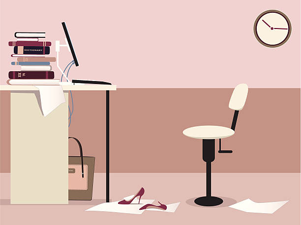 Office workplace Empty office working station with a desk, computer, office chair, clock and some woman's personal items, copy space left at the top, vector illustration absentee stock illustrations