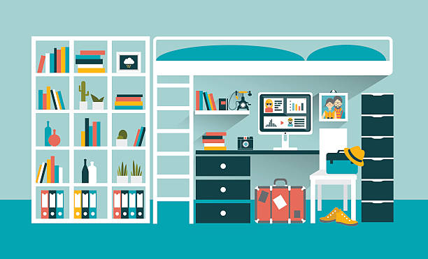 Office workplace with computer and book shelves under bunk bed. Office workplace with computer and book shelves under bunk bed. Flat design vector illustration. bedroom backgrounds stock illustrations