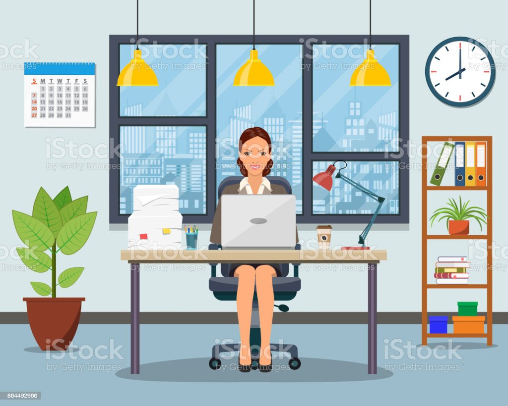 Office workplace with table, bookcase, window. vector art illustration