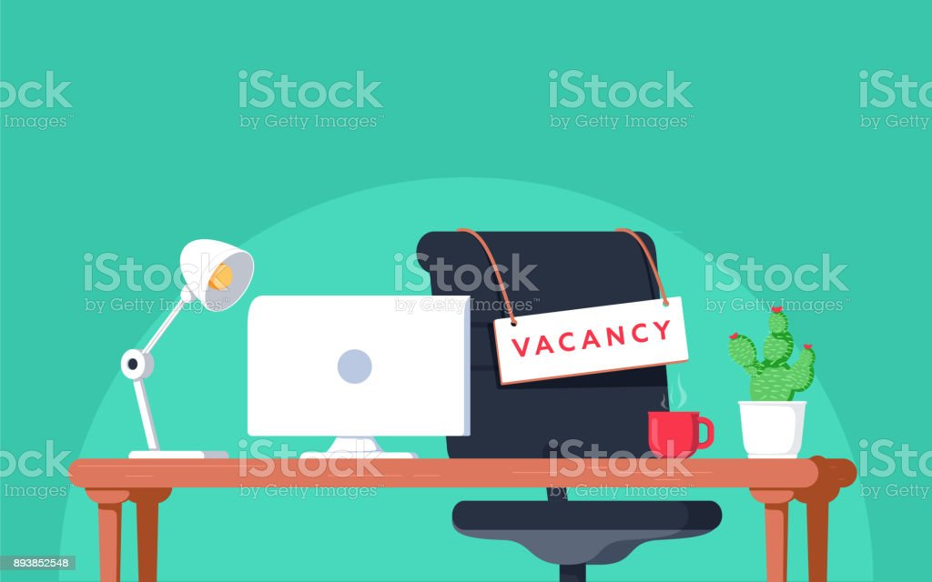 Office workplace with vacancy sign. Empty seat, chair in room for employee. Business hiring, recruitment concept. vector art illustration