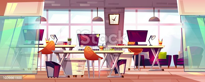 Office workspace vector illustration or coworking business open workplace interior. Cartoon modern furniture with computer tables, chairs and stationery, empty loft meeting room with glass windows