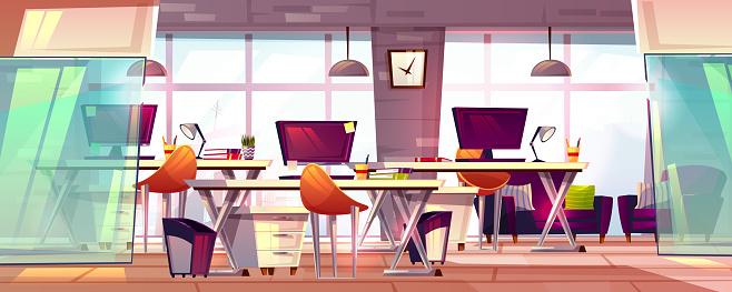 Office workspace interior vector illustration