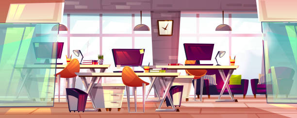 Office workspace interior vector illustration Office workspace vector illustration or coworking business open workplace interior. Cartoon modern furniture with computer tables, chairs and stationery, empty loft meeting room with glass windows modern interior stock illustrations