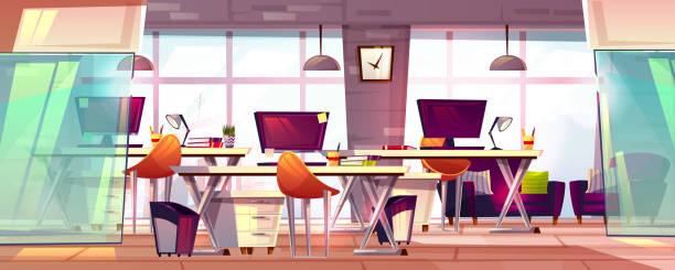 オフィス ワークスペース内部ベクトル図 - 旅行代理店点のイラスト素材/クリップアート素材/マンガ素材/アイコン素材