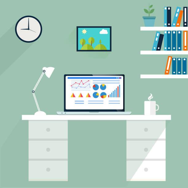 büro arbeitsplatz. computer im arbeitsbereich, vektor - schultischrenovierung stock-grafiken, -clipart, -cartoons und -symbole