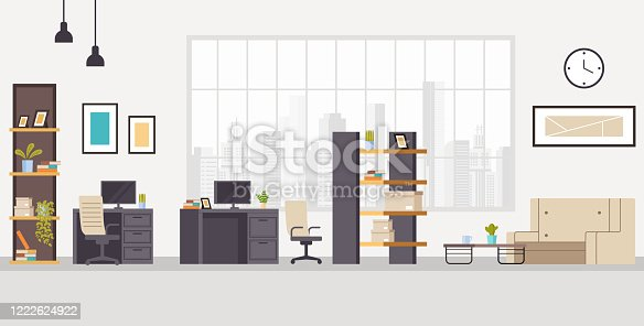 istock Office workstation furniture interior concept. Vector flat graphic design cartoon illustration 1222624922