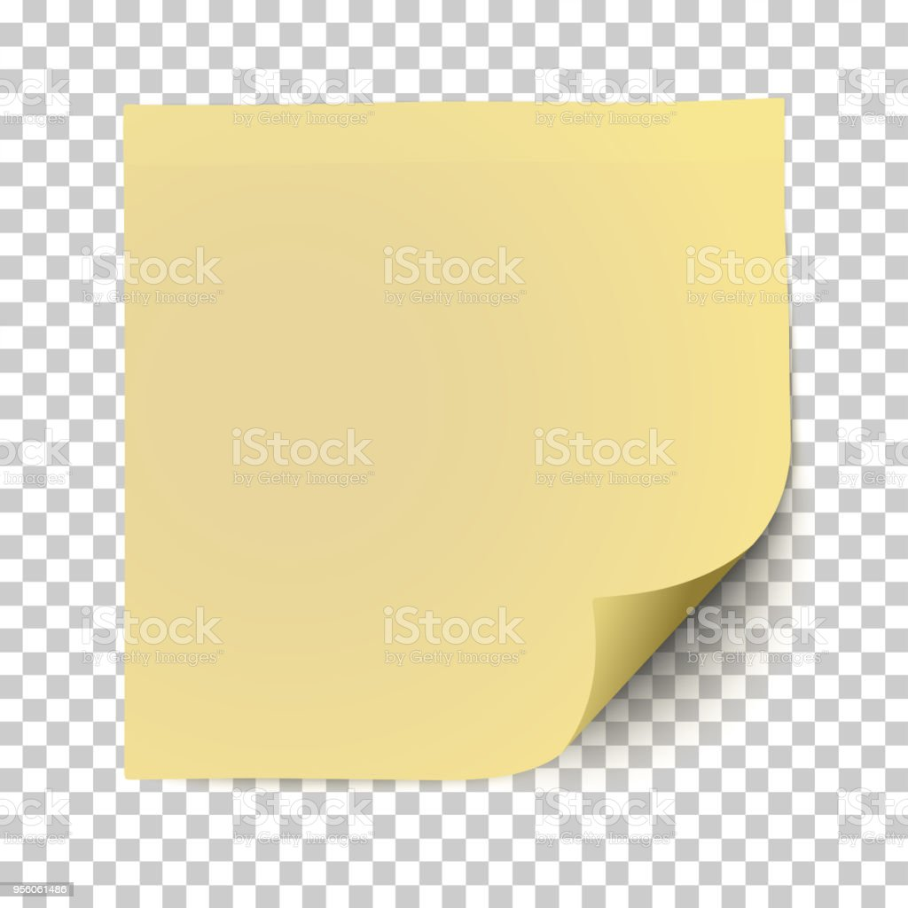 office yellow paper sticker with shadow isolated on a transparent