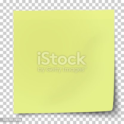 istock Office yellow-green paper sticker with bent lower right corner isolated on transparent background. Template vector post note. 1257517919