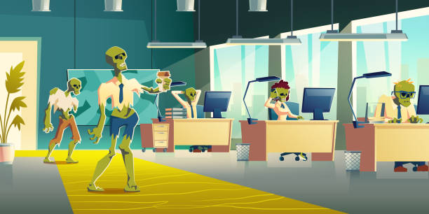 bildbanksillustrationer, clip art samt tecknat material och ikoner med office zombies på jobbet cartoon vector concept - coffe with death