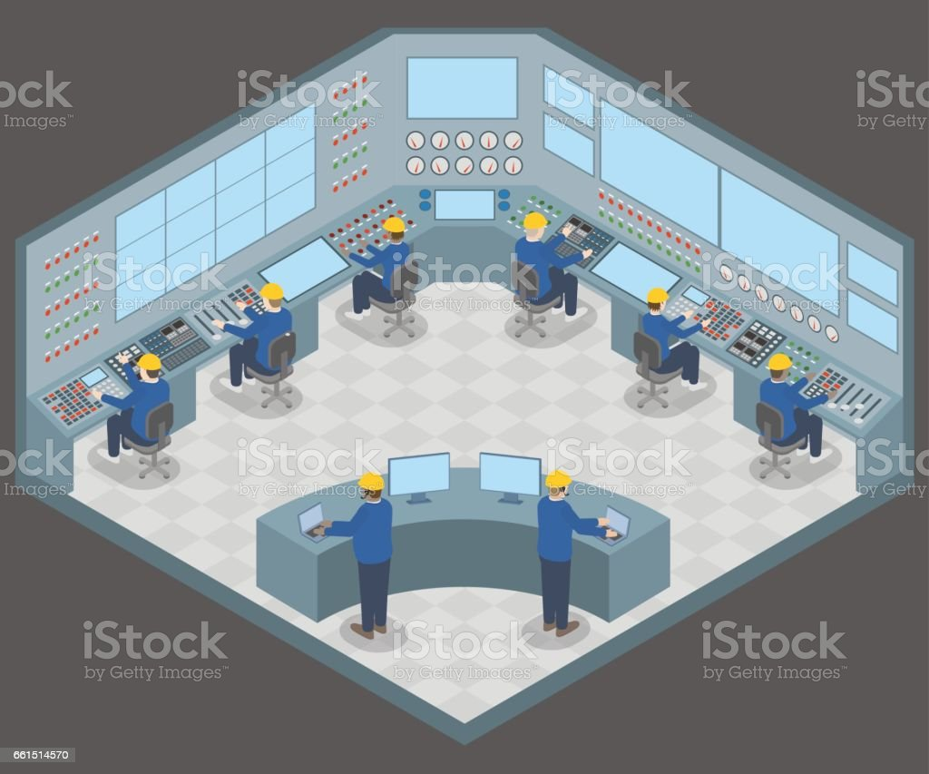 office003control center room and working engineers, vector illustration vector art illustration