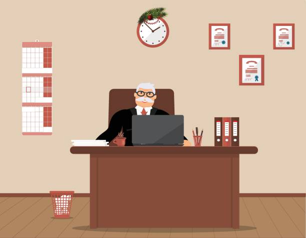 officebluebusinessman - old man sitting backgrounds stock illustrations, clip art, cartoons, & icons