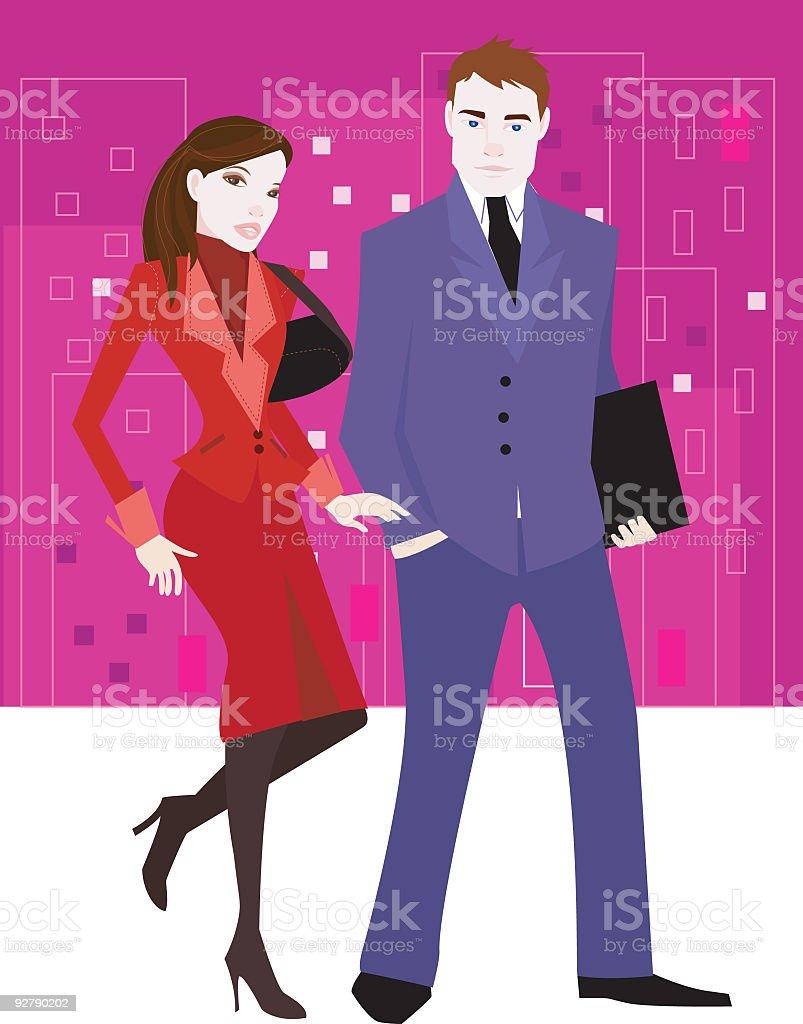 officemates vector art illustration