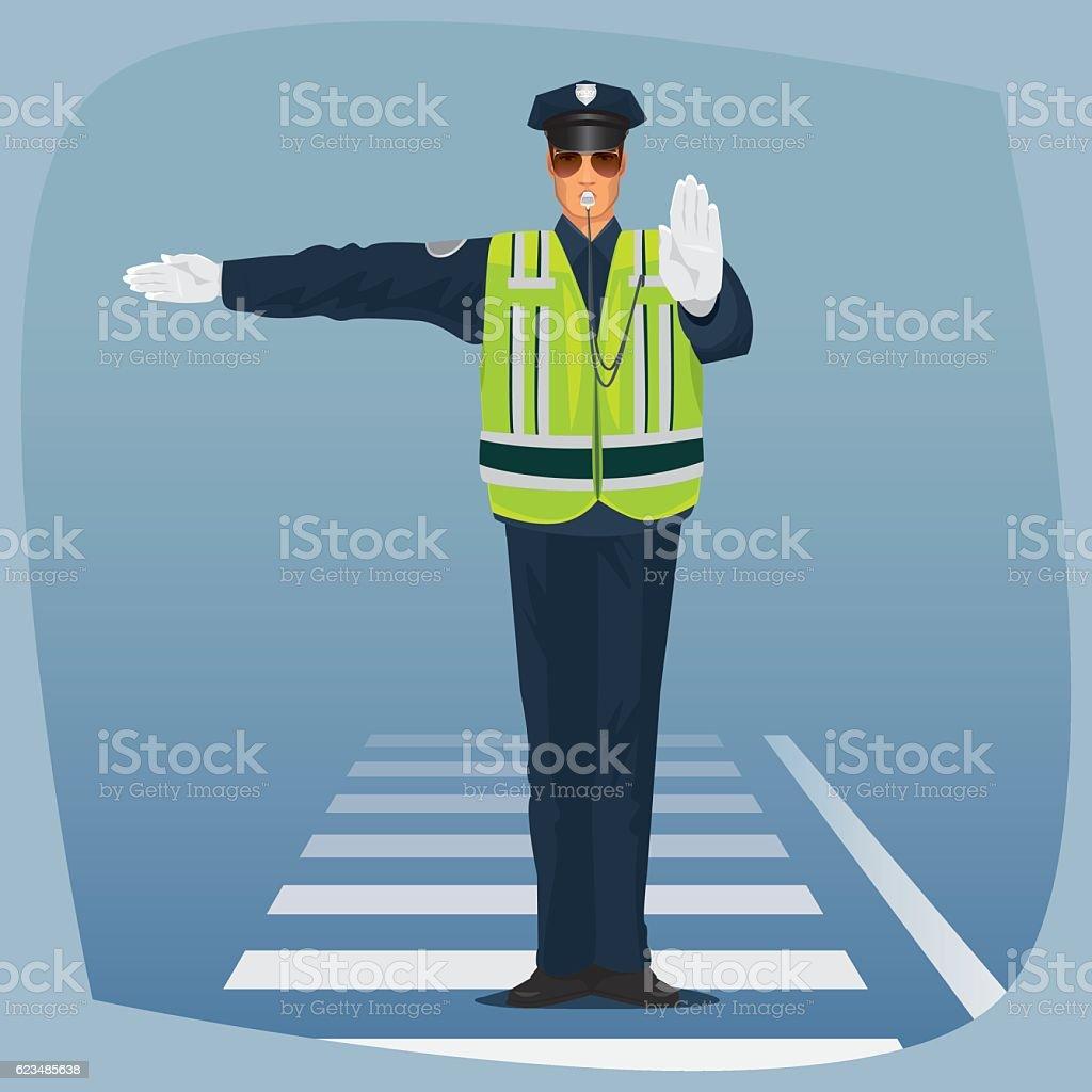 Officer of traffic police standing at crossroads vector art illustration