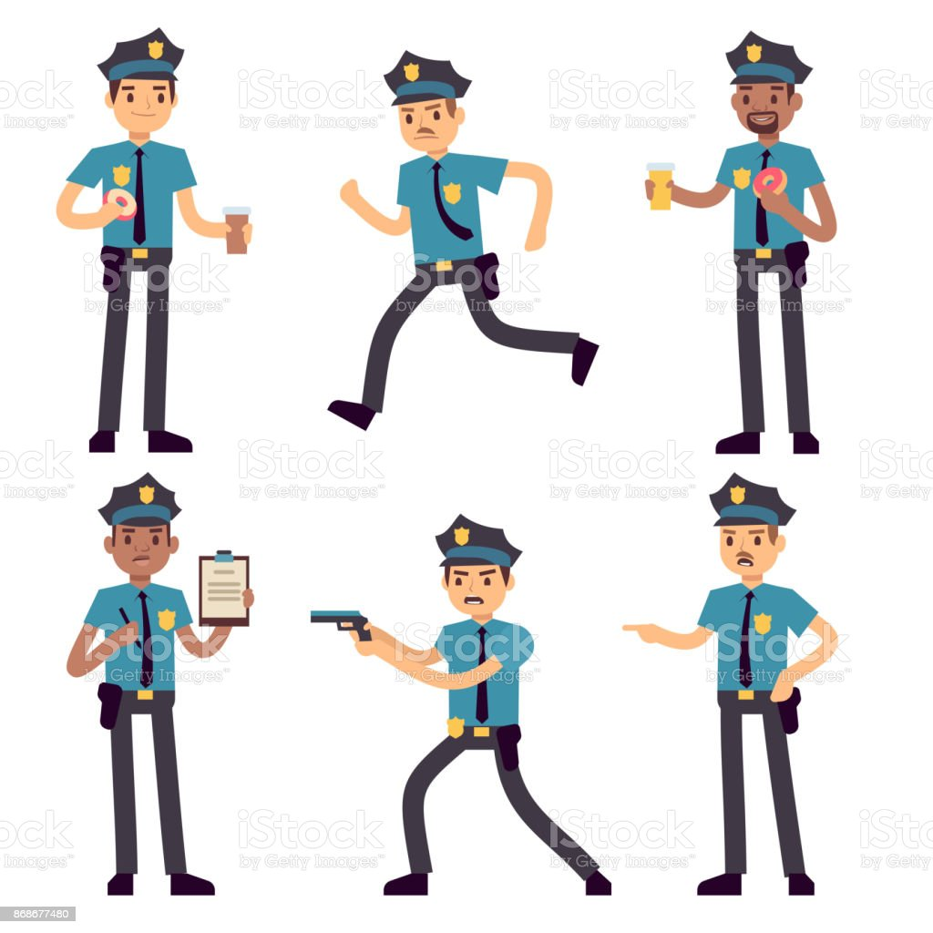 officer policeman vector cartoon characters isolated patrol cops for rh istockphoto com vector cartoon characters free vector cartoon characters illustrator