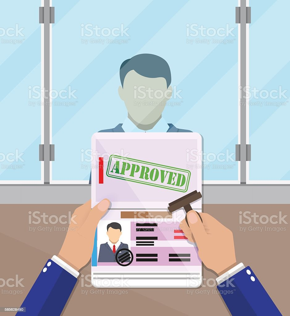 officer putting a stamp in the passport vector art illustration