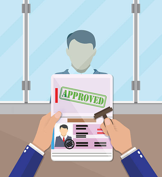 officer putting a stamp in the passport officer at passport control point putting a stamp in the passport with a mark approved. travel document. vector illustration in flat design airport borders stock illustrations