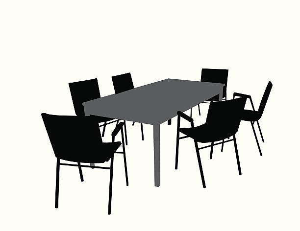 OfficeTable Chairs Vector Silhouette vector art illustration