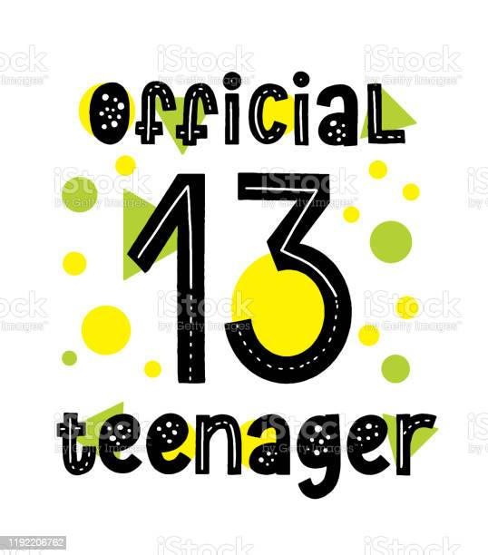 Official 13 teenager typography card happy birthday 13th invitation vector id1192206762?b=1&k=6&m=1192206762&s=612x612&h=4 nbj0ahkmcouvbeftcj6ylvr1fj96opo35qvghafas=