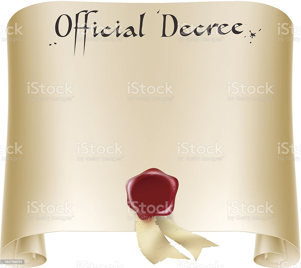 Official certificate scroll royalty-free stock vector art
