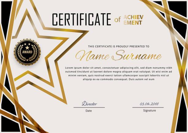 stockillustraties, clipart, cartoons en iconen met officieel certificaat met blauwe ontwerpelementen. business modern design. gouden embleem - certificaat