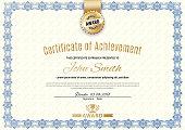 Official certificate with blue simple border. Business beige modern design. Gold emblem.