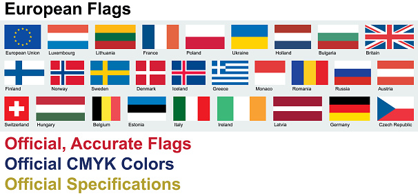 Official European Flags (Official CMYK Colors, Official Specifications)