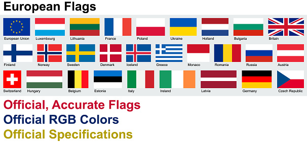 Official European Flags (Official RGB Colors, Official Specifications)