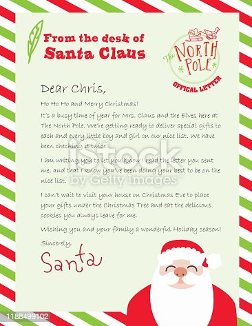 Vector illustration of a generic Official Letter From the desk of Santa Claus. Includes written letter and North Pole stamp and cute Santa. Easy to edit. Vector EPS 10.
