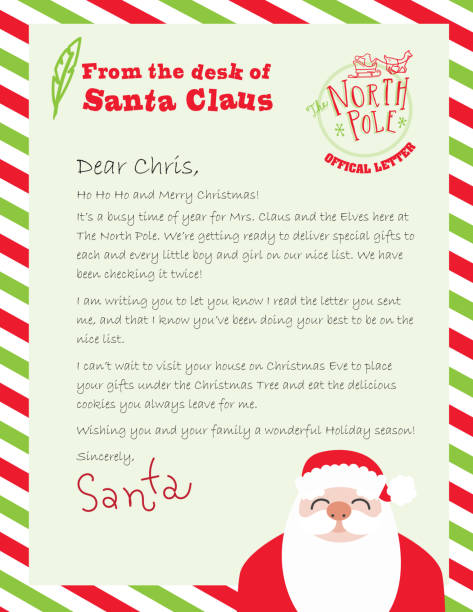 official letter from the desk of santa claus - санта клаус stock illustrations