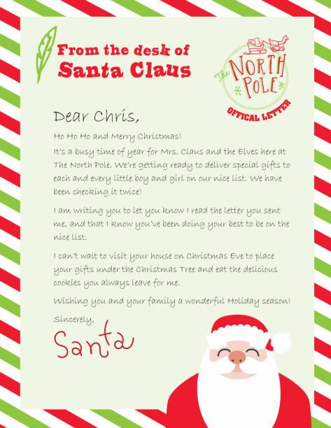 offizieller brief vom schreibtisch des weihnachtsmannes - nikolaus stock-grafiken, -clipart, -cartoons und -symbole