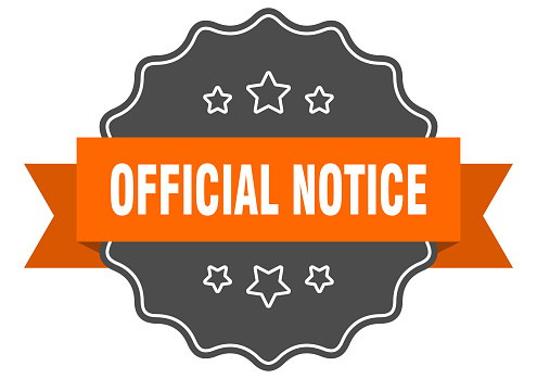 official notice label. official notice isolated seal. sticker. sign